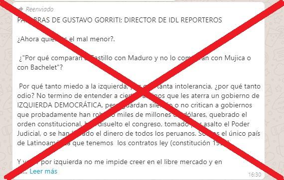 Artículo atribuido a Gustavo Gorriti sobre apoyo a la candidatura de Castillo es falso